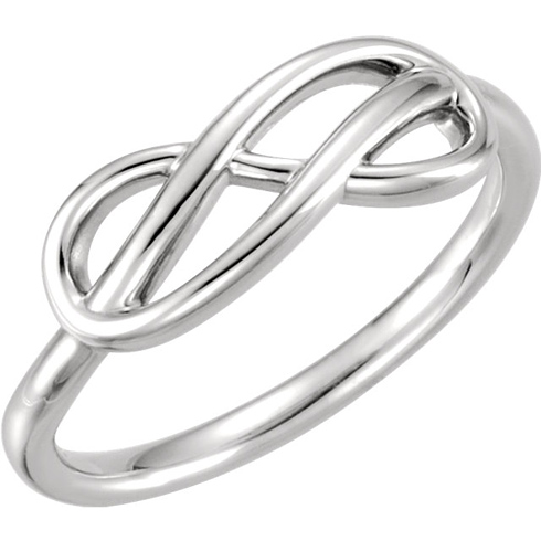 14kt White Gold Knotted Infinity Ring
