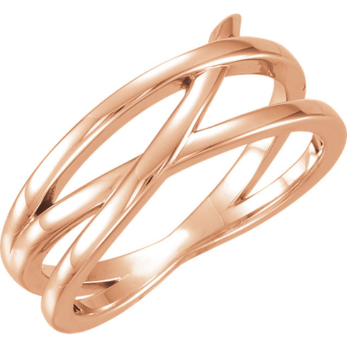 14kt Rose Gold Fancy Crossways Ring