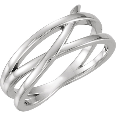 14kt White Gold Fancy Crossways Ring