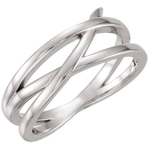 14kt White Gold Fancy Crossways Ring