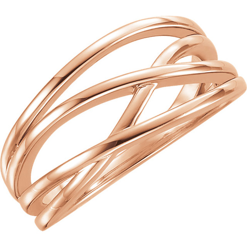 14kt Rose Gold Fancy Crossover Ring