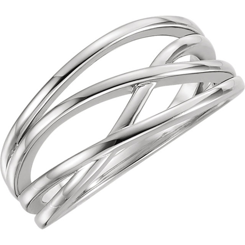 14kt White Gold Fancy Crossover Ring