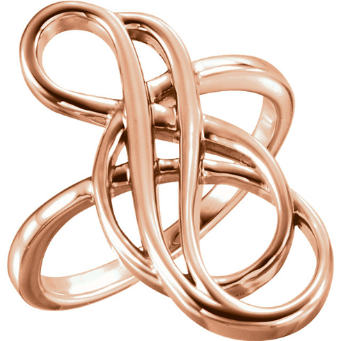 14kt Rose Gold Staggered Infinity Ring