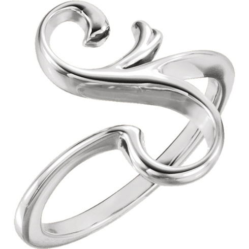14kt White Gold S Shaped Freeform Ring