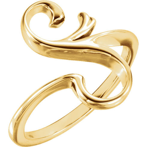 14kt Yellow Gold S Shaped Freeform Ring