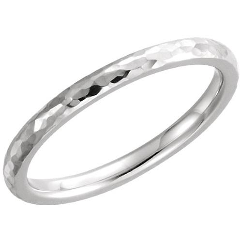14kt White Gold 2mm Comfort Fit Hammered Wedding Band JJ51528W