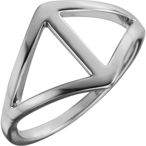 14kt White Gold Open Triangles Freeform Ring