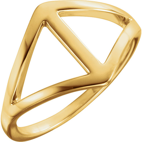 14kt Yellow Gold Open Triangles Freeform Ring