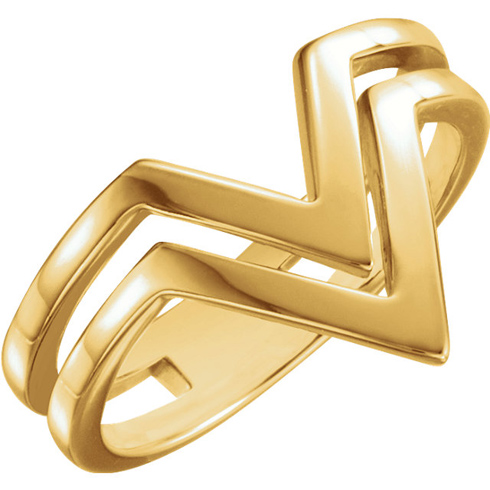 14kt Yellow Gold Double Row V Ring