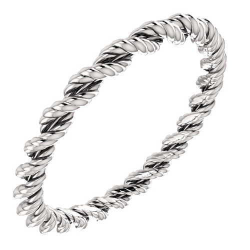 Platinum 2mm Twisted Rope Design Wedding Band