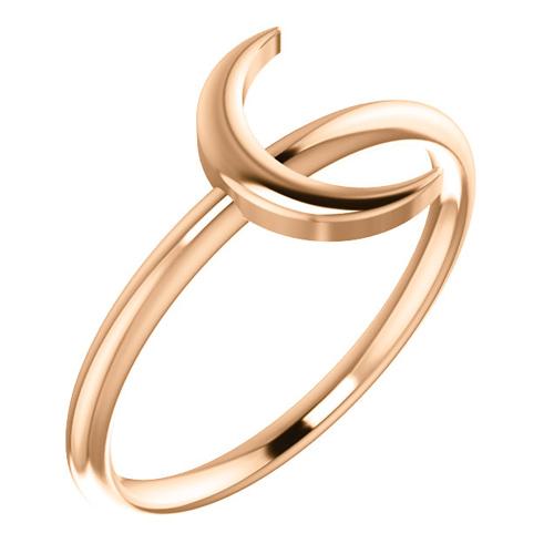 14kt Rose Gold Slender Crescent Ring