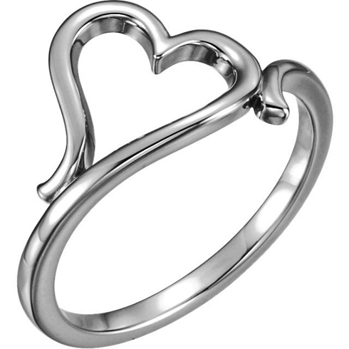 14kt White Gold Sideways Heart Ring