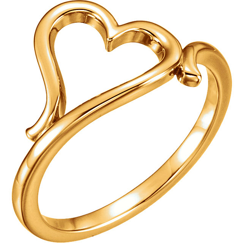 14kt Yellow Gold Sideways Heart Ring