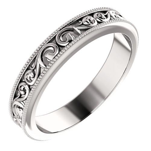 Platinum Sculpted Scroll Design Wedding Band 4mm