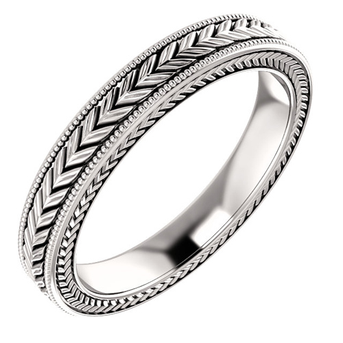 Platinum 3mm Wheat Pattern Wedding Band