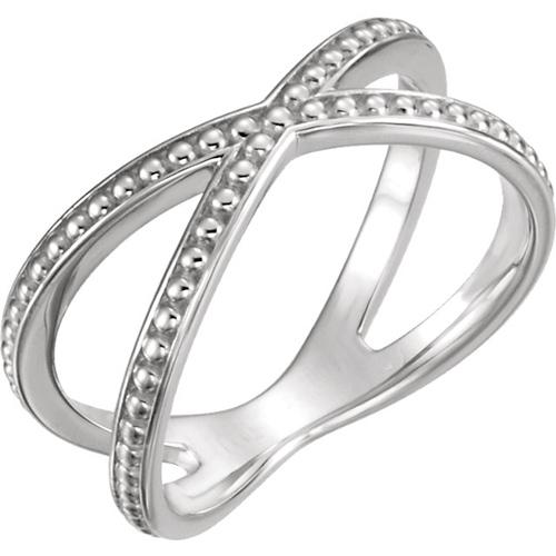 14kt White Gold Beaded Crossover Ring