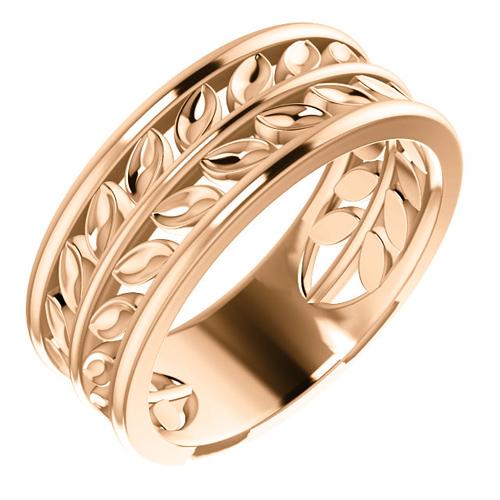 14kt Rose Gold Leaf Wedding Band