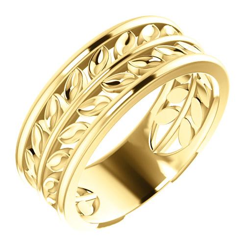 14kt Yellow Gold Leaf Wedding Band