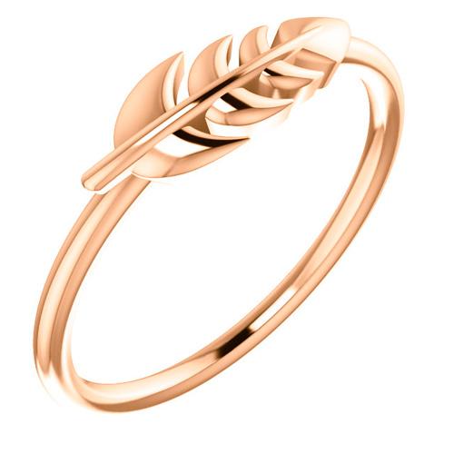 14kt Rose Gold Leaf Ring
