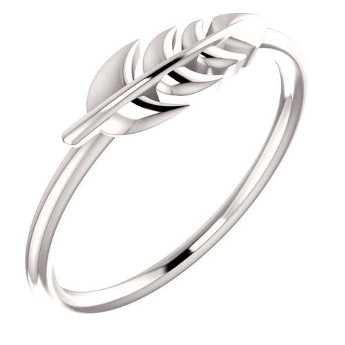 14kt White Gold Leaf Ring