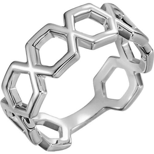 14kt White Gold Hexagonal Link Ring