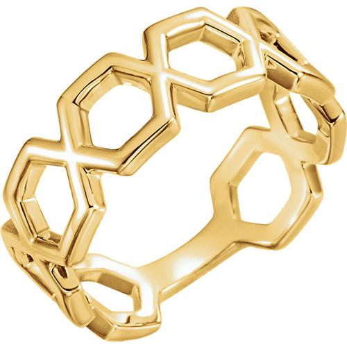 14kt Yellow Gold Hexagonal Link Ring