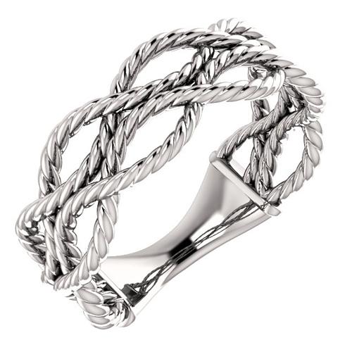 14kt White Gold Three Strand Rope Ring