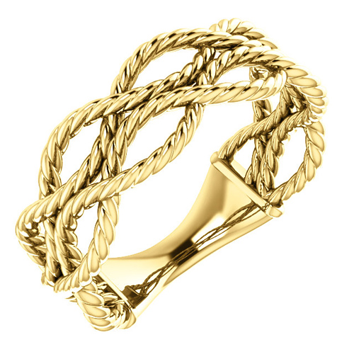 14kt Yellow Gold Three Strand Rope Ring