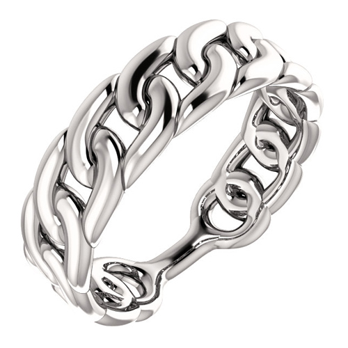14kt White Gold Stackable Curb Link Ring
