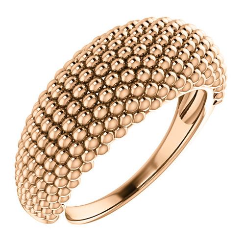 14kt Rose Gold Tapered Beaded Ring