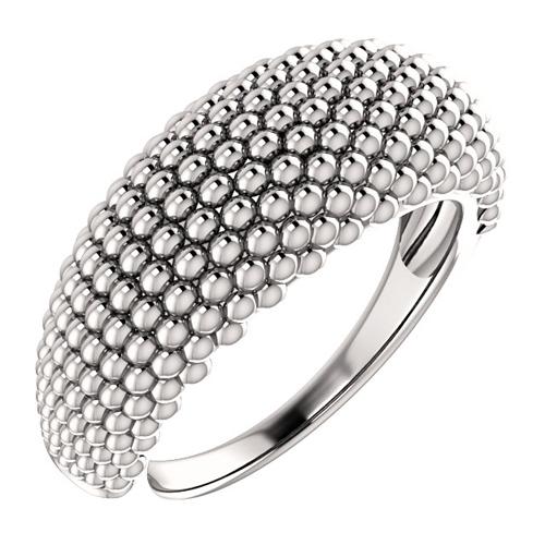 14kt White Gold Tapered Beaded Ring