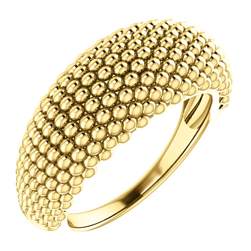 14kt Yellow Gold Tapered Beaded Ring