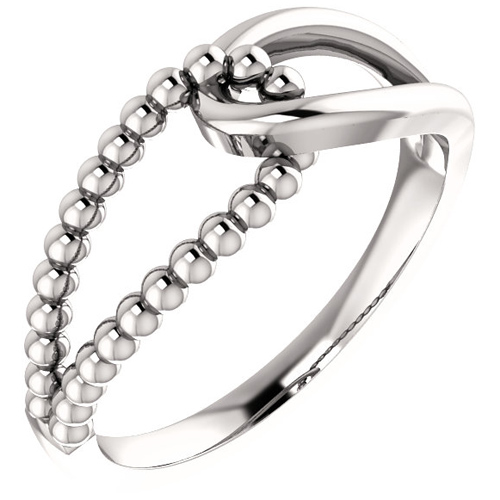 14kt White Gold Knot Ring with Beaded Texture