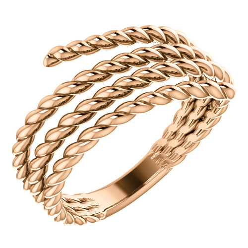 14kt Rose Gold Spiral Wrapped Rope Ring