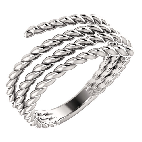 14kt White Gold Spiral Wrapped Rope Ring