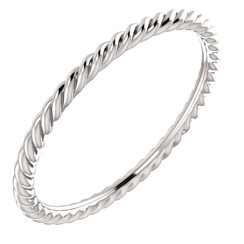 14kt White Gold 1.5mm Comfort Fit Rope Pattern Wedding Band