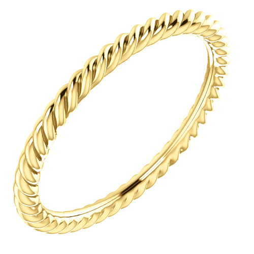 14kt Yellow Gold 1.5mm Comfort Fit Rope Pattern Wedding Band