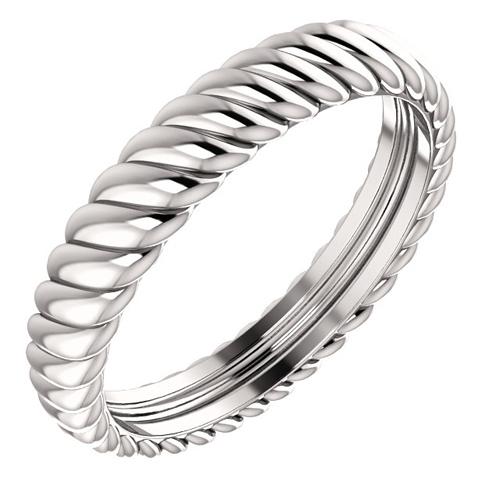 Platinum 3.75mm Rope Texture Wedding Band