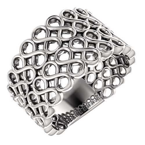 14kt White Gold Wide Infinity Symbol Mesh Ring