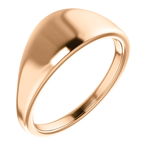 14kt Rose Gold Tapered Smooth Signet Ring