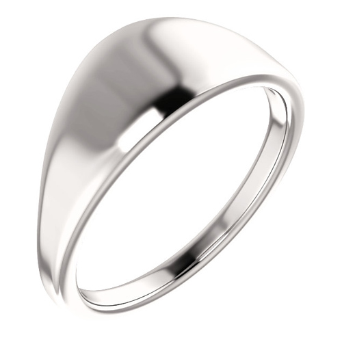 14kt White Gold Tapered Smooth Signet Ring