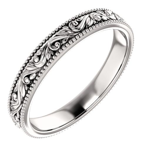 Platinum 3mm Floral Wedding Band with Beaded Edge