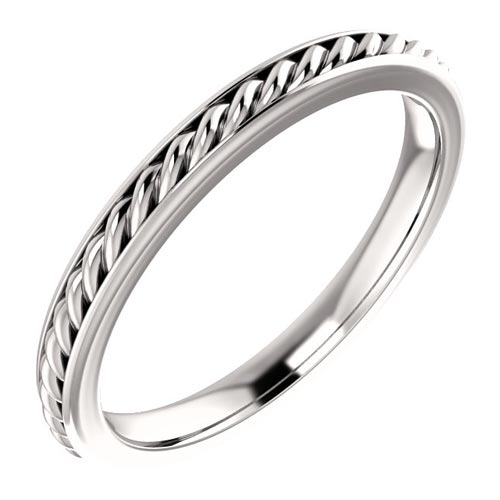 Platinum 2mm Rope Design Wedding Band with Smooth Edges