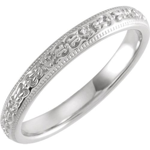 Platinum Floral Patterned Wedding Band 3mm