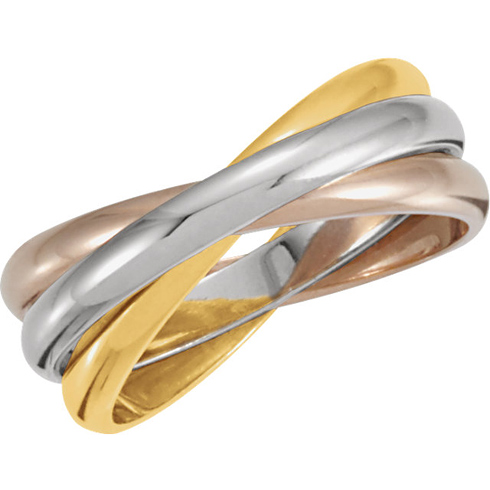 14kt Tri-Tone Gold Rolling Rings