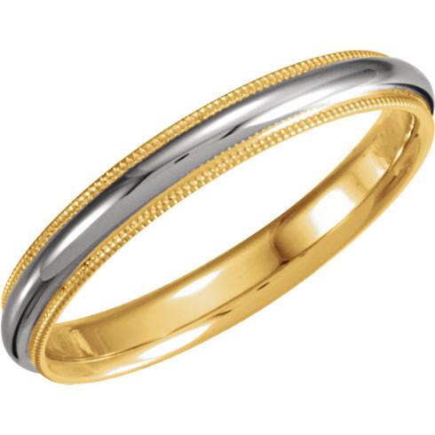 18kt Yellow Gold and Platinum 3.5mm Milgrain Band