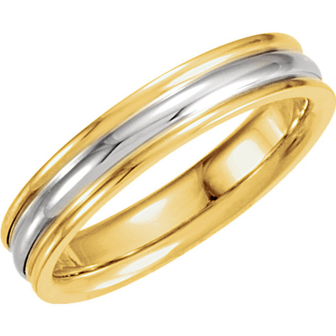 18kt Yellow Gold and Platinum 4mm Wedding Band with Rounded Edges