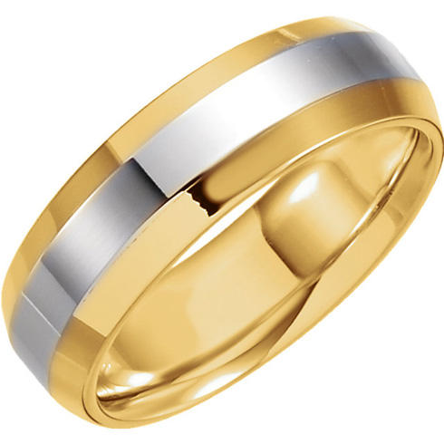 6mm 18kt Gold and Platinum Band with Beveled Edges