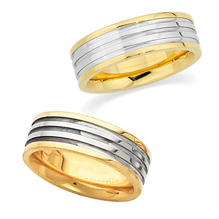 6mm 18k Yellow Gold and Platinum Band
