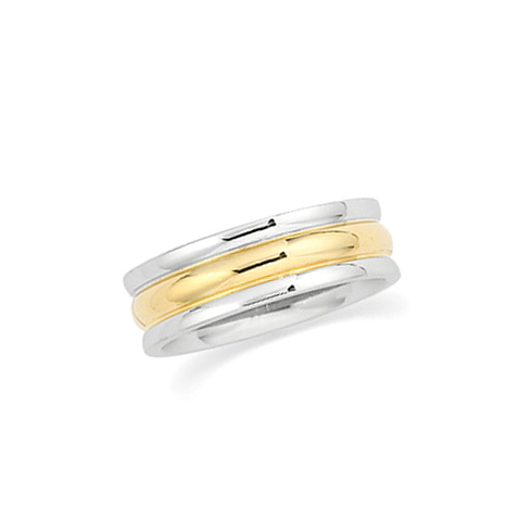 18kt Yellow Gold and Platinum 6mm Band with Rounded Edges